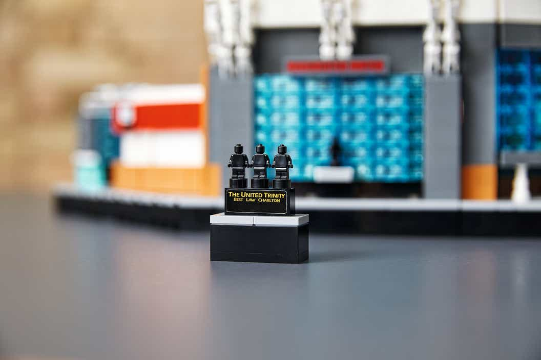 Close up image of LEGO model of Old Trafford Stadium