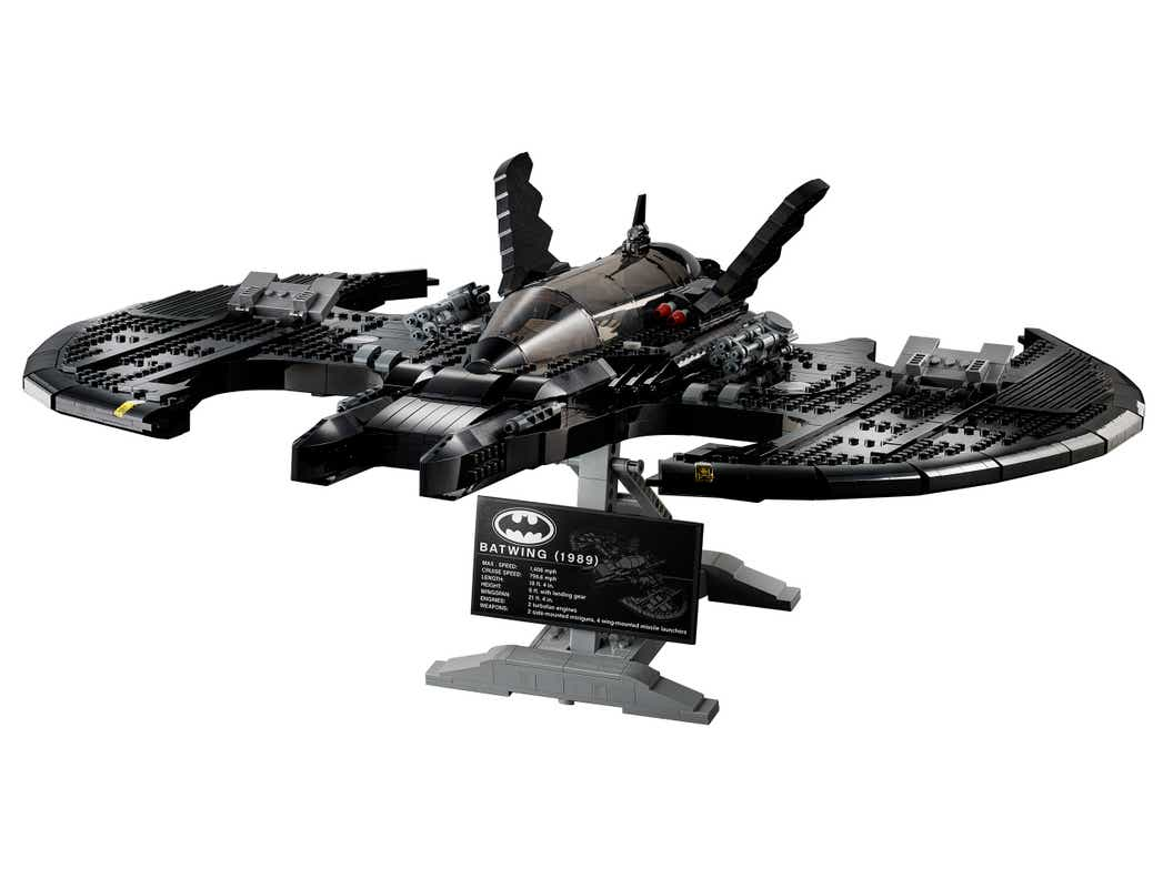 Image of the LEGO 1989 Batwing on a stand with a white background