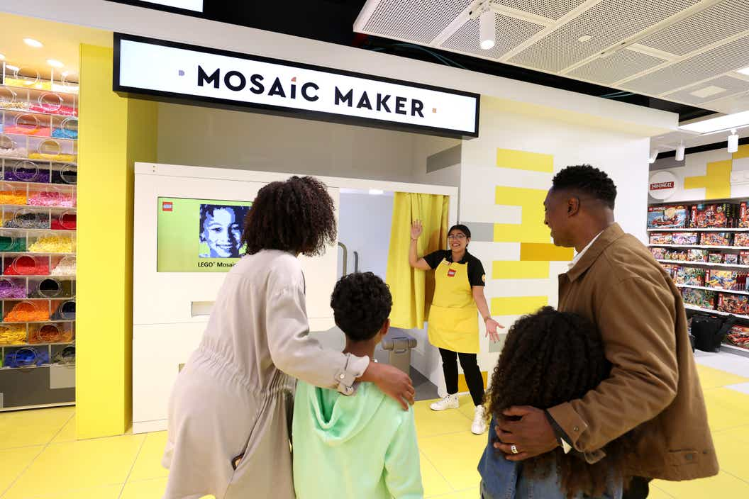 Lifestyle image of people trying out the Mosaic Maker
