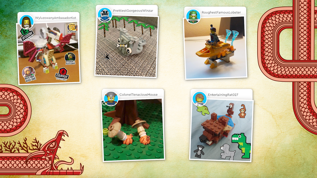 Image of a screen displaying several different LEGO creations by children