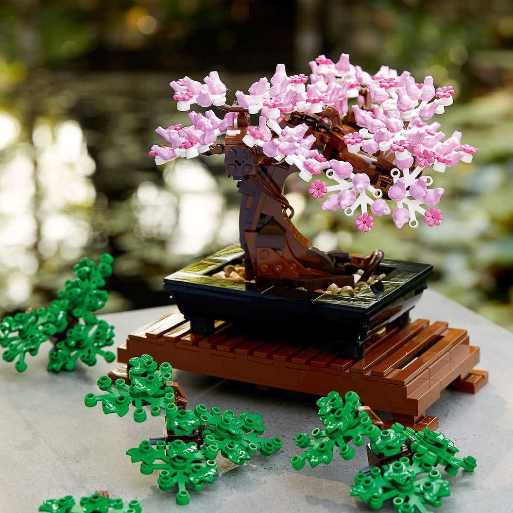Lifestyle image of the LEGO Bonsai Tree with a pink coloured crown