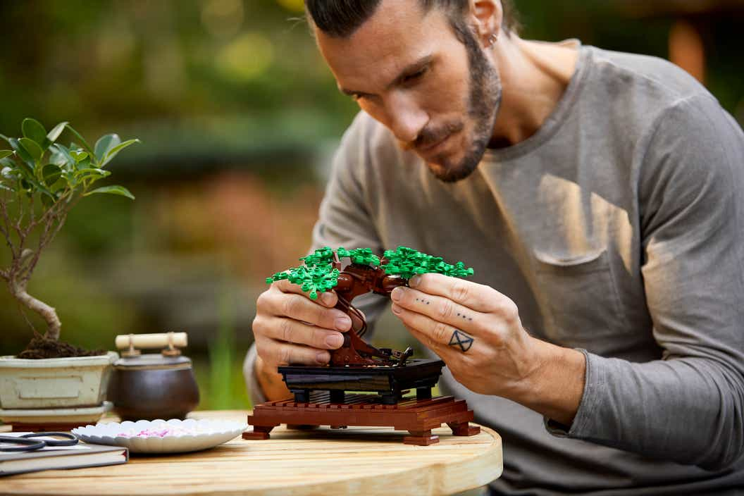 Lifestyle image of a man building the LEGO Bonsai Tree in an outdoor setting