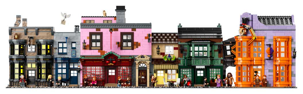 LEGO Diagon Alley as viewed from the front with all buildings side by side