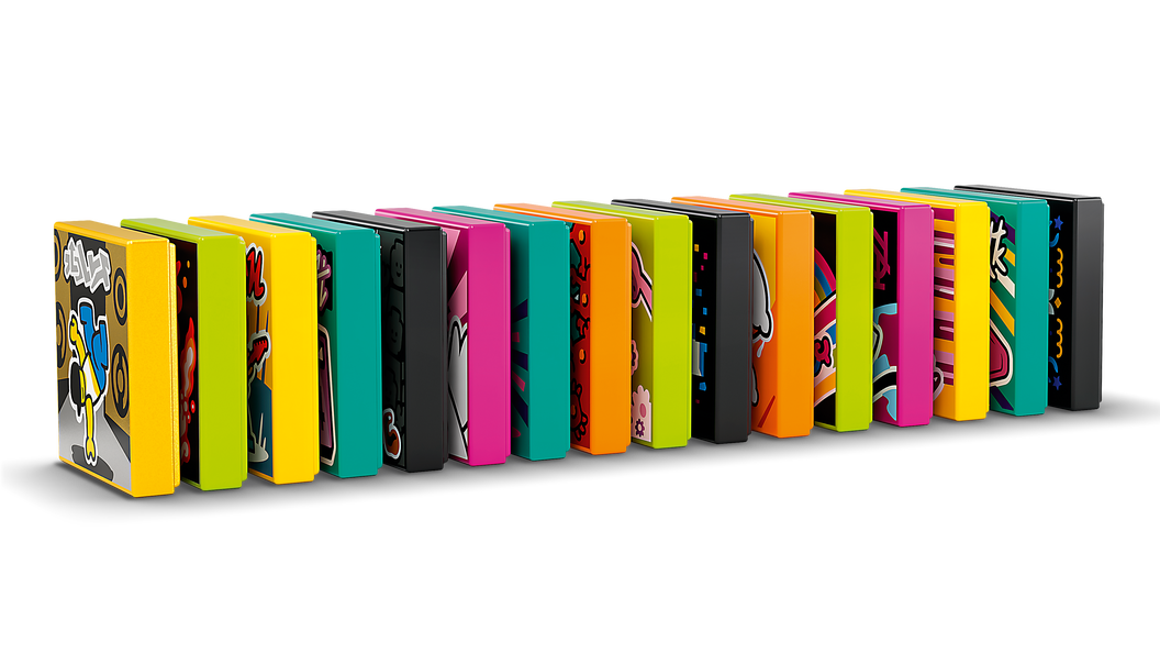 Image of a collection of beat bits standing up in a row