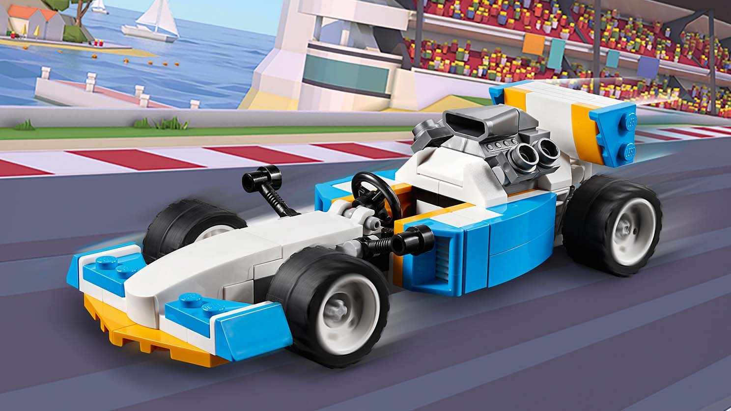 LEGO Creator 3 in 1 - 31072 Extreme Engines - A Race Car with a large rear engine is portrayed on a race track.