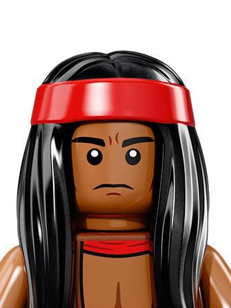 A portrait of Apache Chief, an evil villian, with a red hairband and long black hair