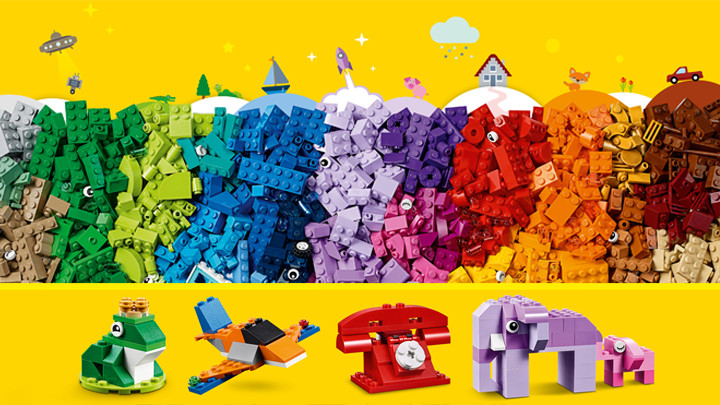 LEGO Classic Bricks Bricks Bricks - 10717 - A big box with green, blue, purple, red, yellow, orange and brown LEGO bricks.