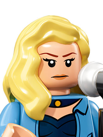 Black Canary with a microphone, blue outfit, and yellow hair