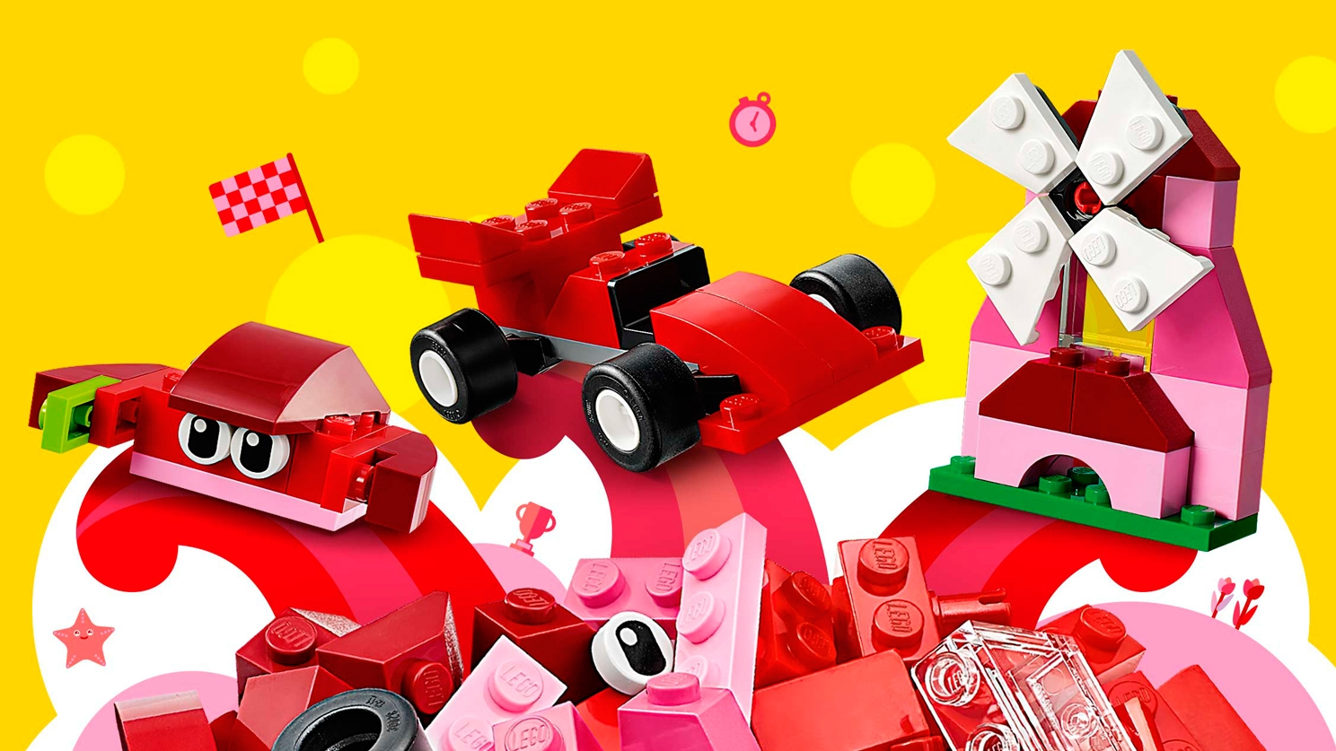 LEGO Classic Red Creativity Box - 10707 - Use red and pink bricks to build a crab, a race car or a mill!