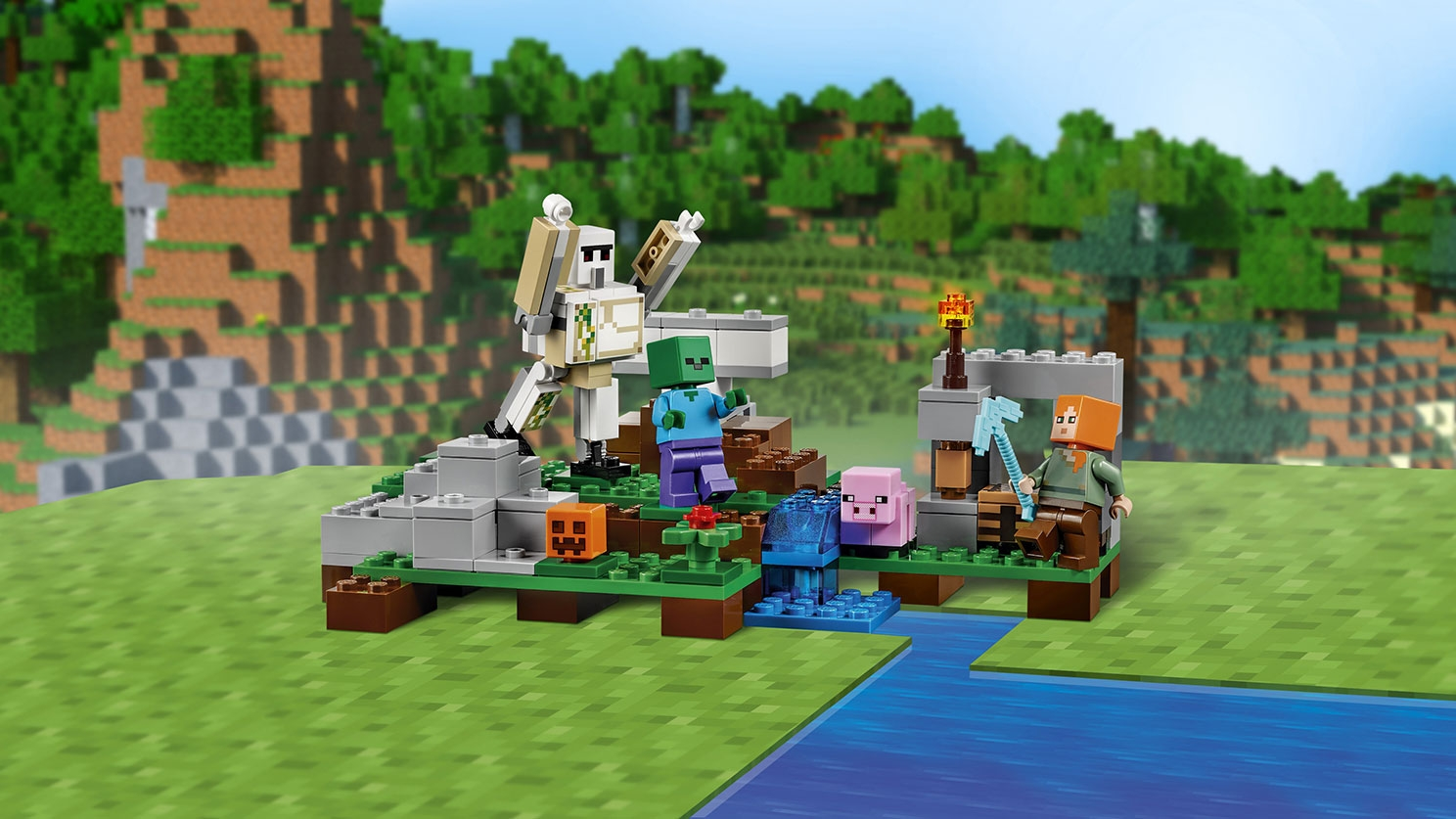 LEGO Minecraft - 21123 The Iron Golem - The iron golem and a zombie crashes the camp where Steve is with his pig and pumpkins.