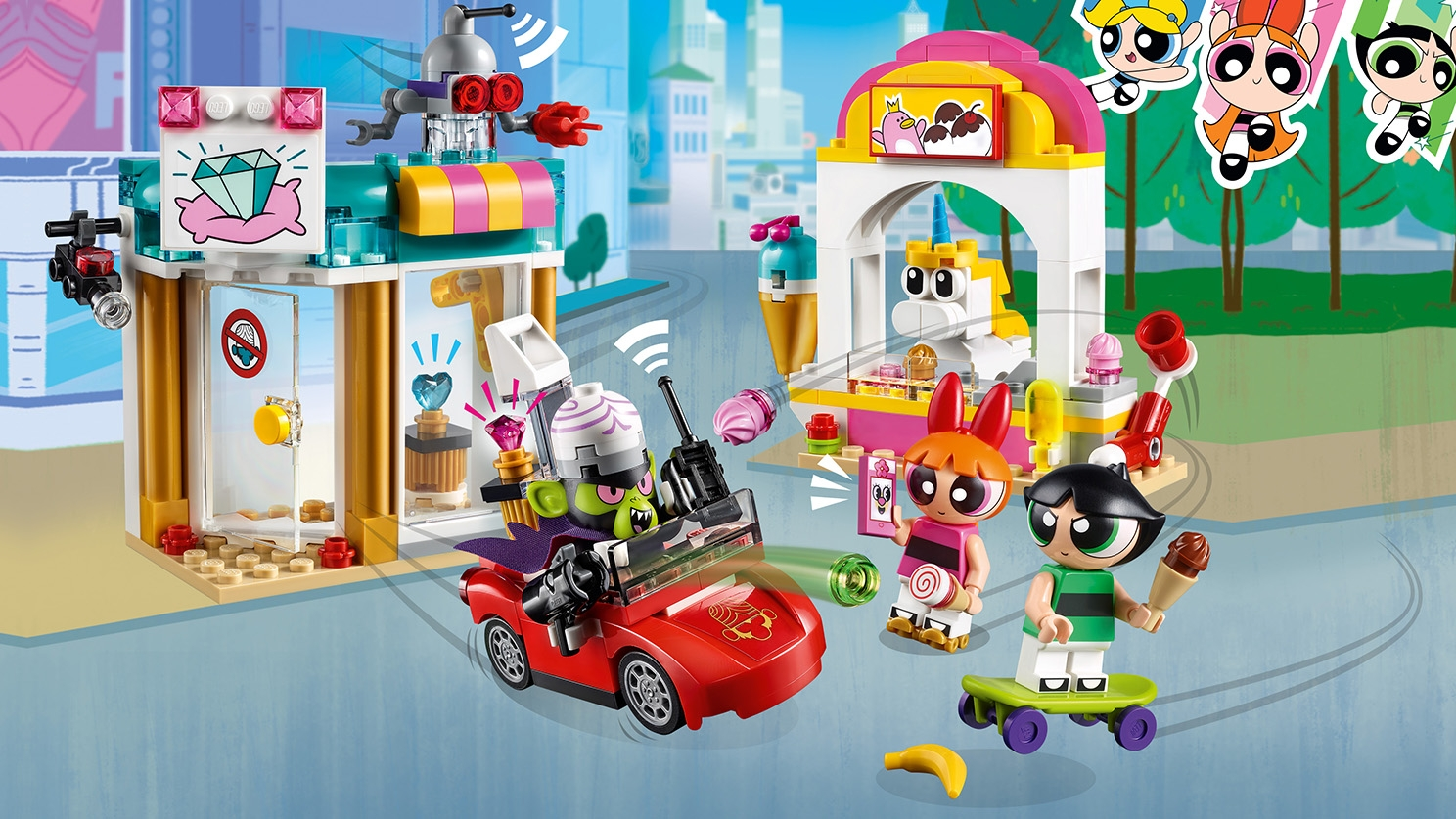 LEGO Powerpuff Girls - 41288 Mojo Jojo Strikes - Powerpuff Girls Blossom and Buttercup has just bought ice creams in the city as Mojo Jojo attacks them from his red car.