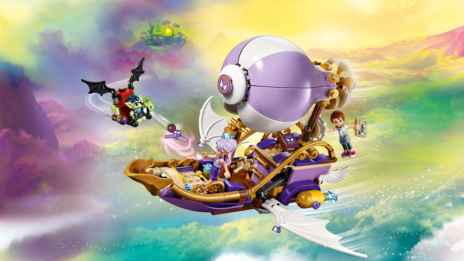 LEGO Elves - 41186 Azari & the Goblin Forest Escape - The Goblin has spotted Emily Jones with her amulet on Aira's airship and swoops in with the goblin glider to steal the amulet.
