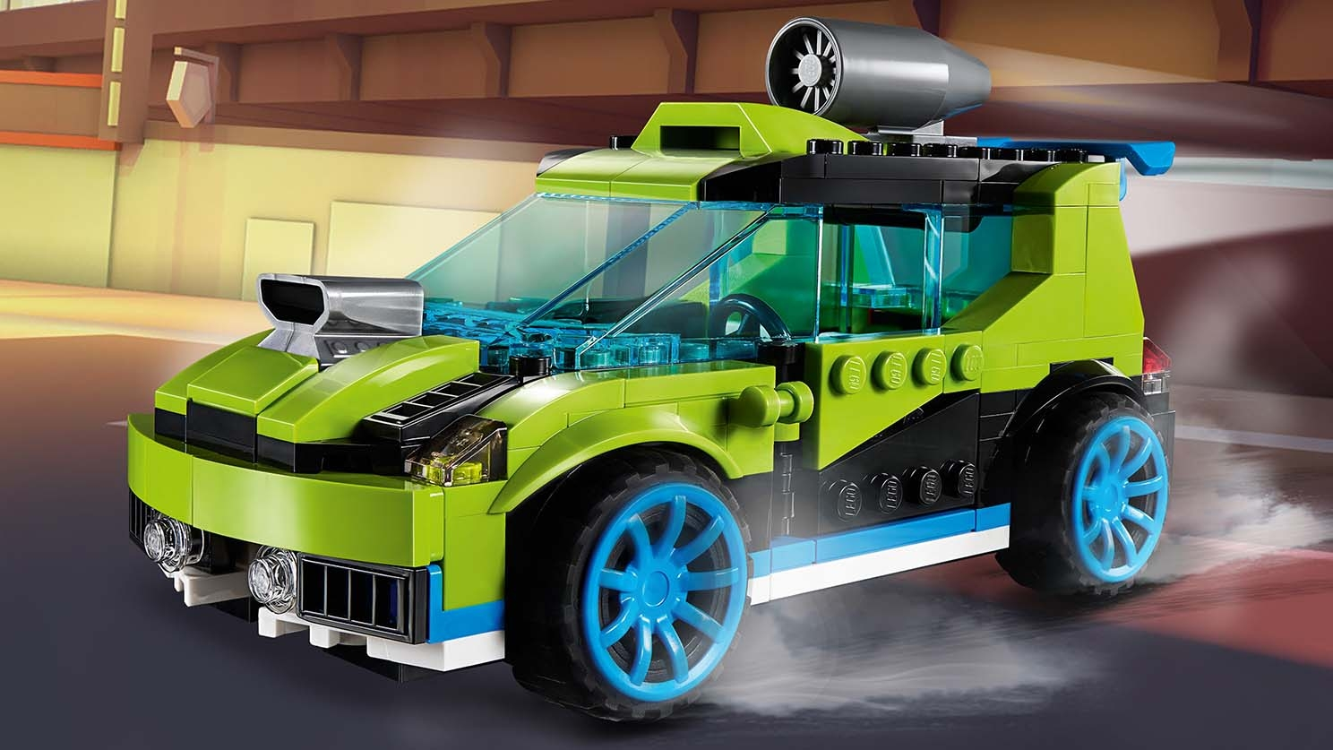 LEGO Creator 3 in 1 - 31074 Rocket Rally Car - Drive fast in this green car that has a rocket on the roof for extra speed.