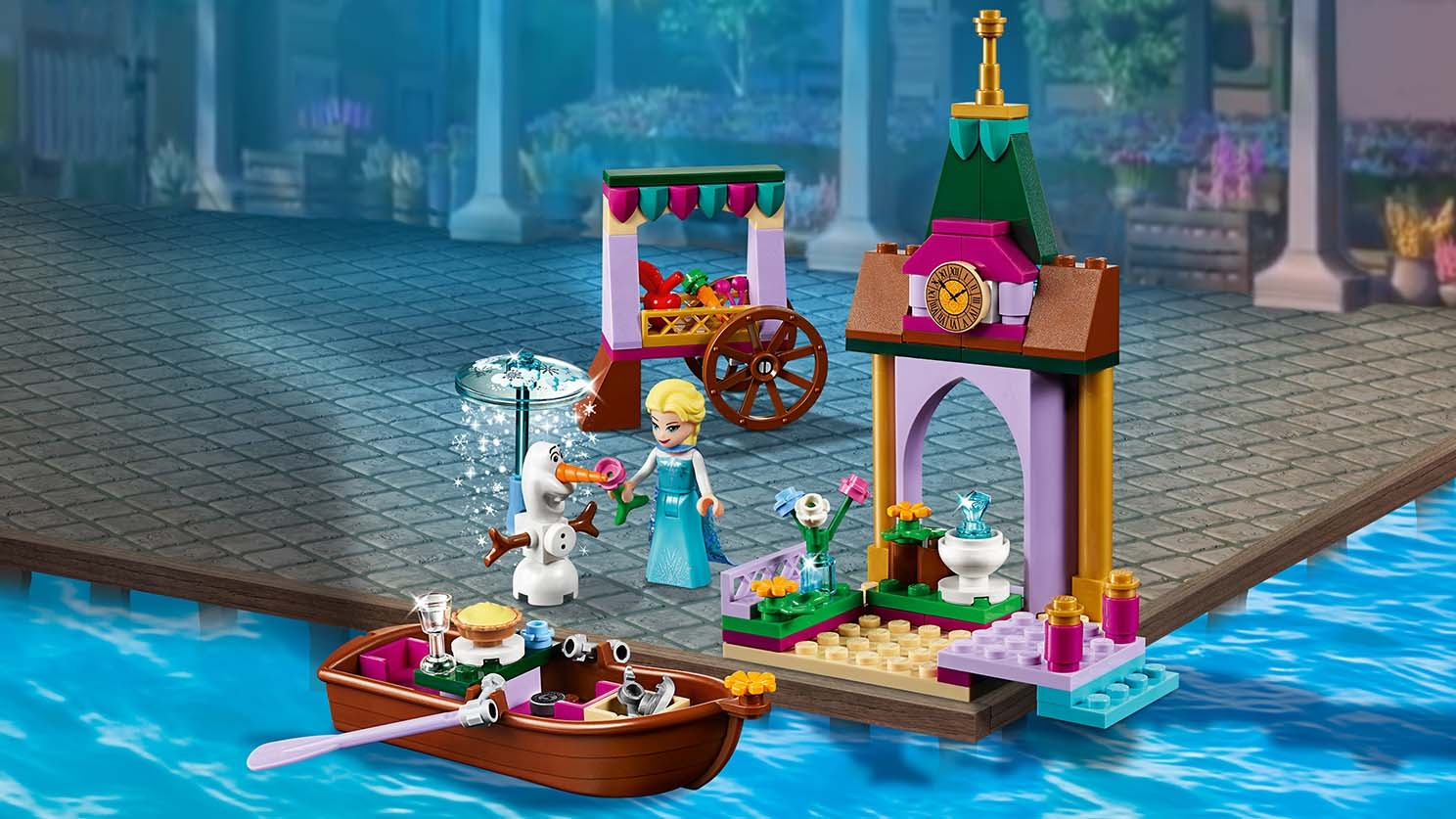 LEGO Disney - 41155 Elsa's Market Adventure - Elsa enjoys a summer day on the Arendelle Market Place shopping for vegetables together with Olaf who stays cold under his snow flurry.