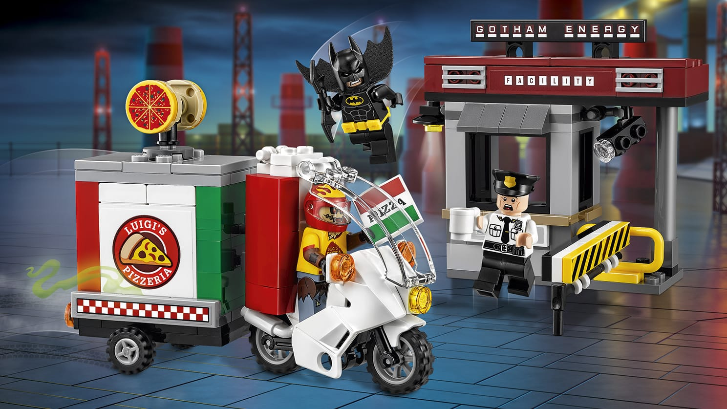 LEGO Batman Movie Scarecrow Special Delivery - 70910 - Scarecrow disguises as a pizza delivery and tries to sabotage Gotham Energy Facility with fear gas but Batman come to the rescue.