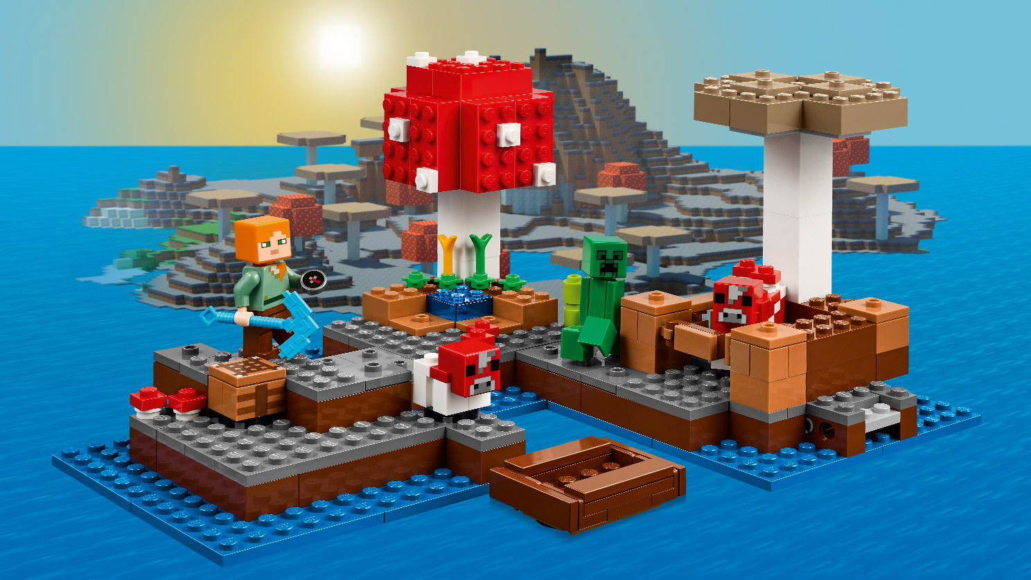 LEGO Minecraft - 21129 The Mushroom Island - Use your pickaxe to mine valuable resources, craft and create at the crafting table, and grow vital crops and wheat for the mooshroom and her baby
