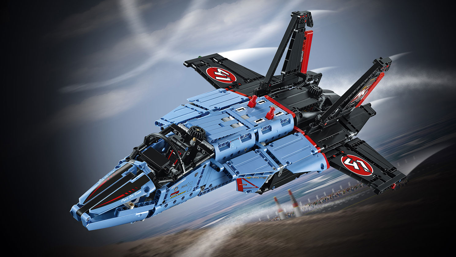 LEGO Technic - 42066 Air Race Jet -  The Air Race Jet features an awesome blue, black and red color scheme with cool racing stickers and an array of authentic details and exciting motorized functions.