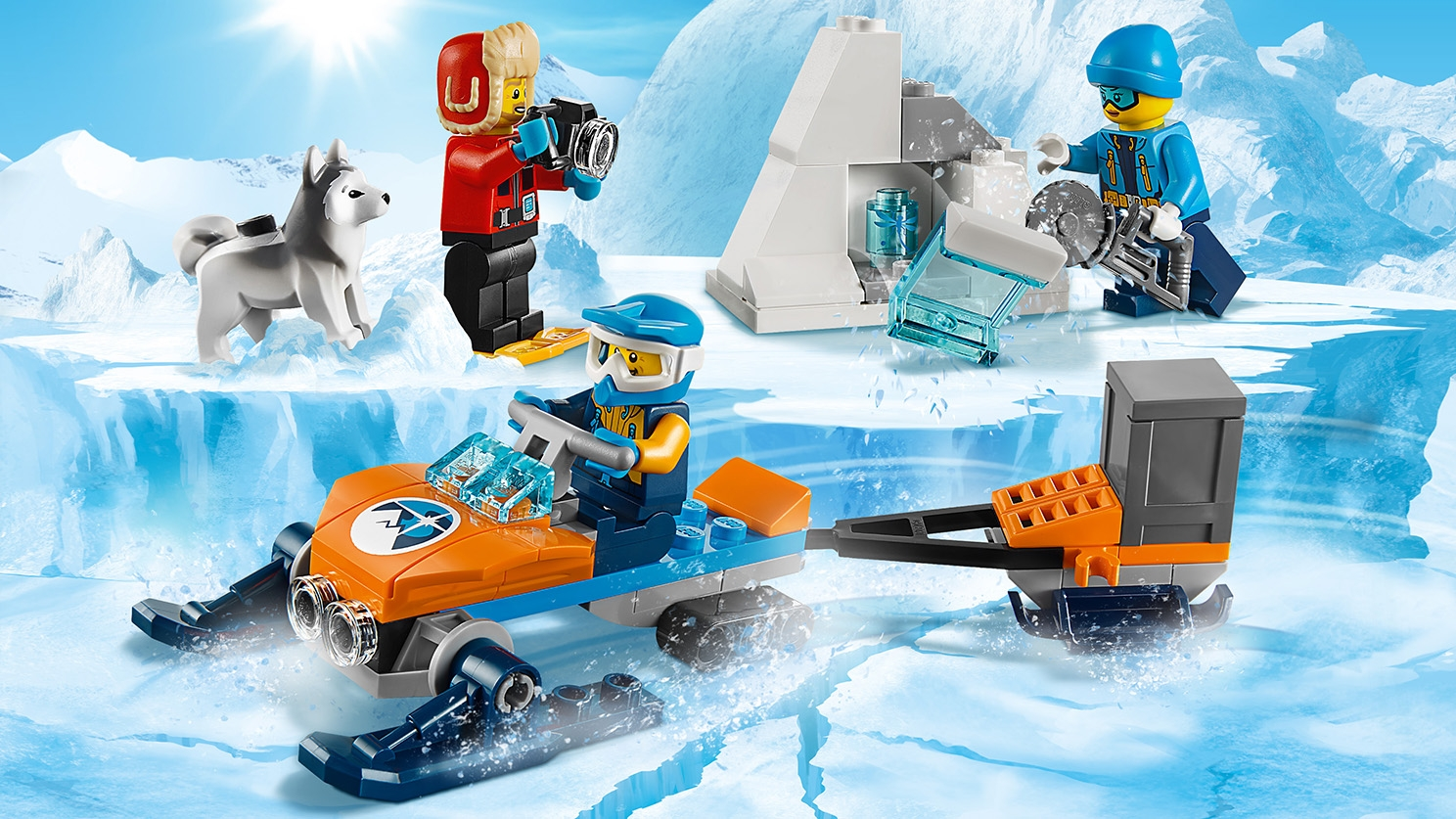 LEGO City Arctic Expedition - 60191 Arctic Exploration Team - The workers cut in ice and rocks to find fossils that they can transport on the ice glider and take pictures of.