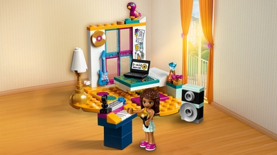 LEGO Friends - 41341 Andrea's Bedroom - Play on the piano or guitar and record a song with Andrea in her musical bedroom in orange and pink colors.