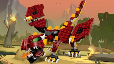 LEGO Creator 3 in 1 - 31073 Mythical Creatures - This big red dragon spits fire and sets the forest on fire.