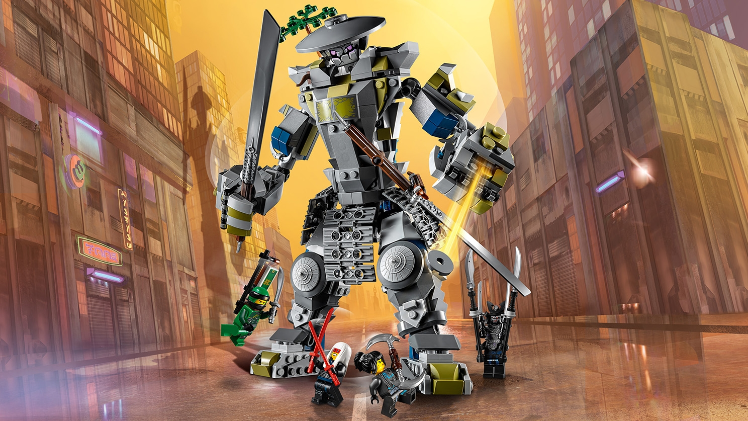LEGO Ninjago - 70658 Oni Titan - This huge grey robot mech has gigantic katanas and the ninja heroes tries to stop the mech from destroying the city.