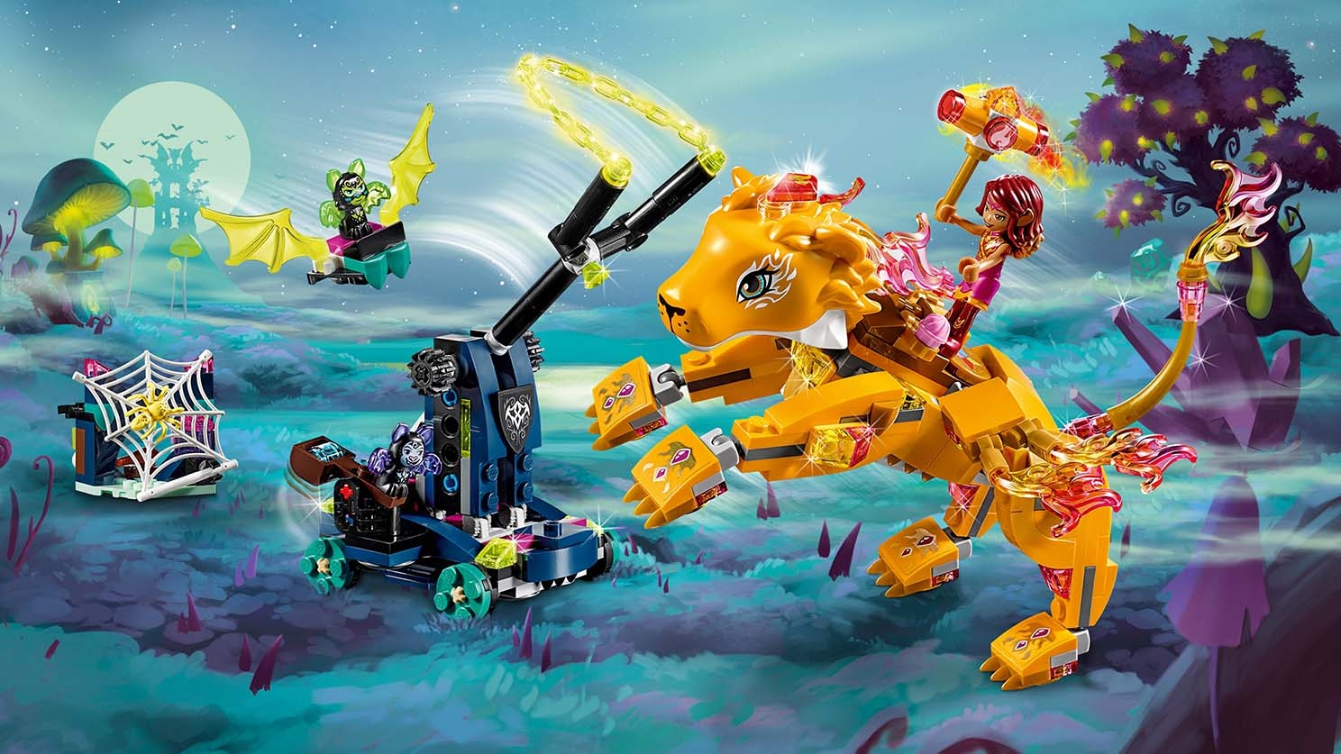 LEGO Elves - 41192 Azari & the fire Lion Capture - Help Azari and Rowan the Guardian Fire Lion unite their magic to fight off the shadow bats and try to remove the evil chain from around Rowan's neck.