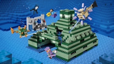 LEGO Minecraft - 21136 the Ocean Monument - Join Alex at the cave, dry wet sponges on the furnace, grab the Potion of Water Breathing and prepare for new, underwater Minecraft™ adventures