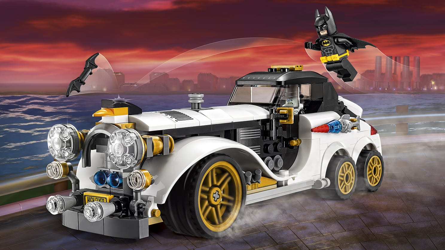 LEGO Batman Movie The Penguin Arctic Roller - 70911 - The Penguin drives around Gotham City and makes chaos with his missile loaded car so Batman has to stop him.