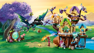 LEGO Elves - 41196 The Elvenstar Tree Bat Attack - A huge bat tries to attack the tree house where the elves can gaze at starts with the telescop, slide down to look at the waterfall, practice with the crossbow and discover a hidden portal.