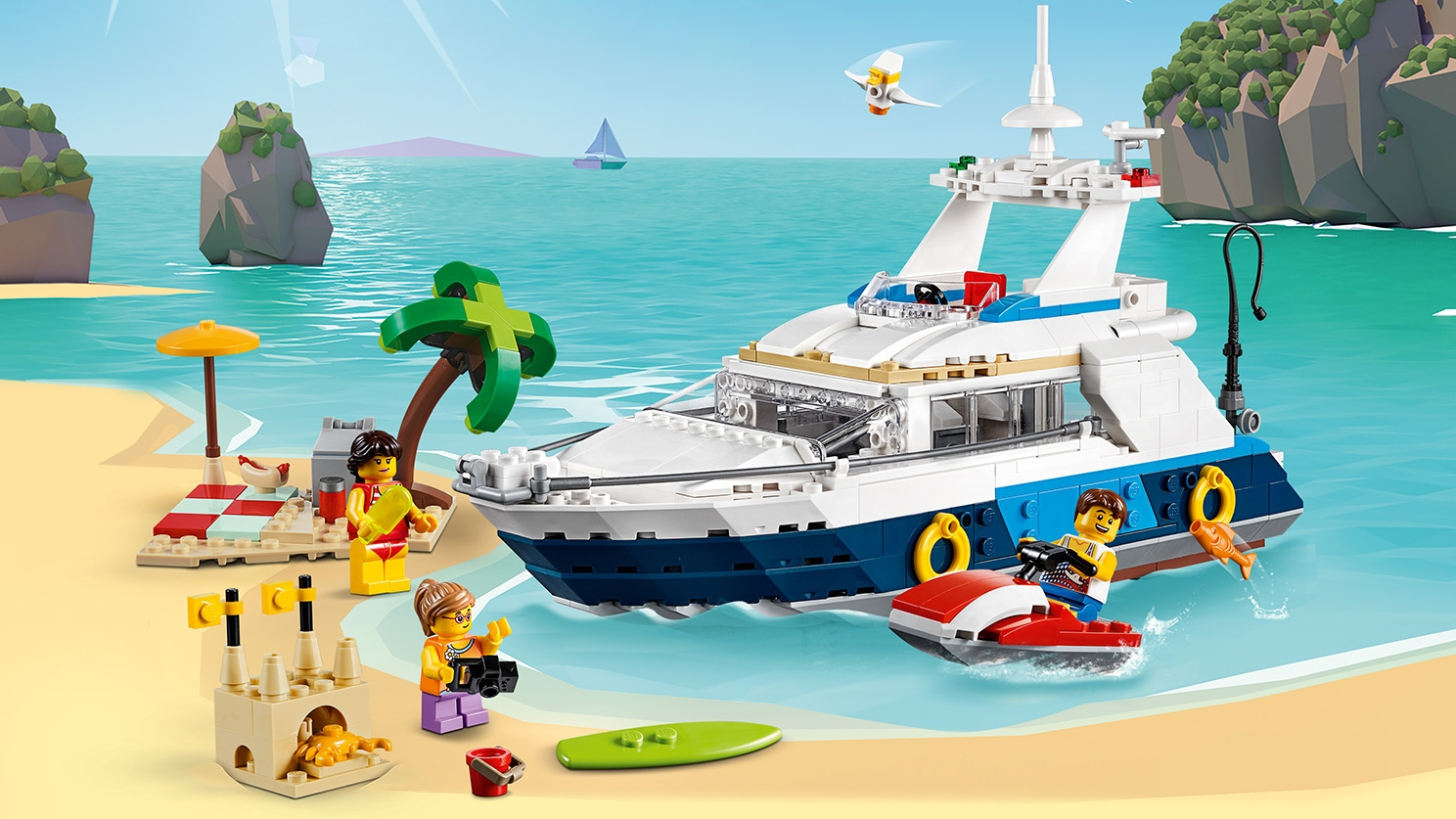 LEGO Creator 3 in 1 - 31083 Cruising Adventures - Build a yacht and hang out on the beach and enjoy the sun, surf or build a sand castle.