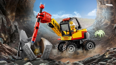 LEGO City Mining - 60185 Mining Power Splitter - The special mining vehicle splits a huge rock in two parts.