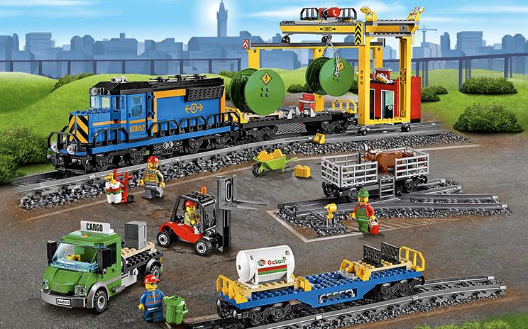 LEGO City cargo train, loading crane and tracks - Cargo Train 60052