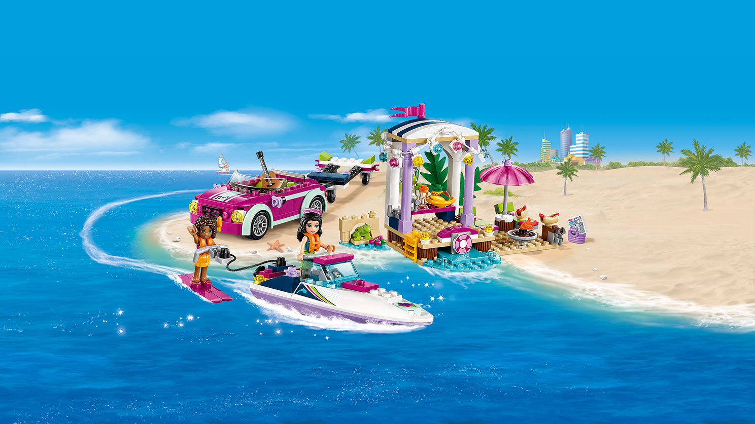 LEGO Friends - 41316 Andrea's Speedboat Transporter - Andrea is on the water ski at sea being towed by Emma on the Speedboat next to the beach party.