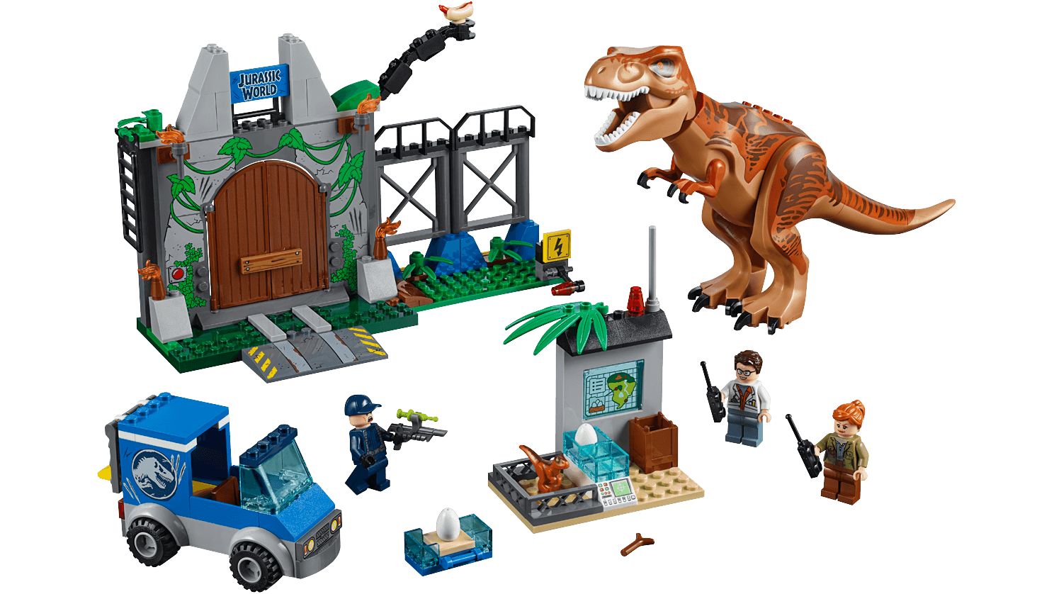 LEGO Juniors - 10758 T. rex Breakout - The set consists of three minifigures, a van, the dinosaur nursery, a dinosaur figure, a big dinosaur enclosure.