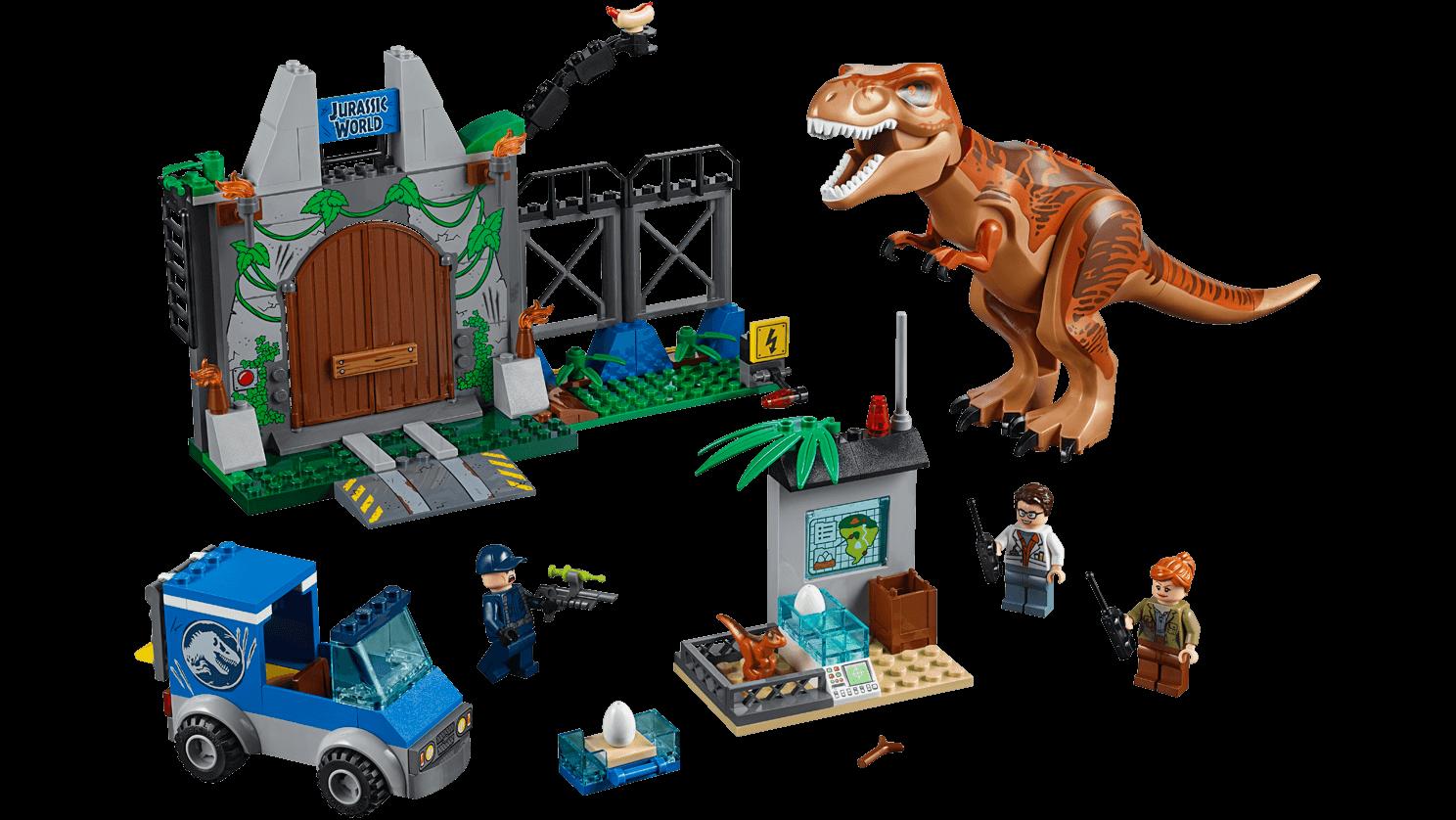 LEGO Juniors - 10758 T. rex Breakout - The set consists of three minifigures, a van, the dinosaur nursery, a dinosaur figure, a big dinosaur enclosure.