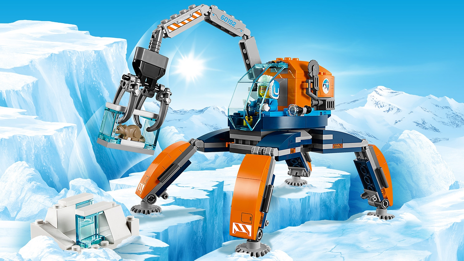 LEGO City Arctic Expedition - 60192 Ice Crawler - Lift big chunks of ice and snow with the crane of this orange ice crawler.