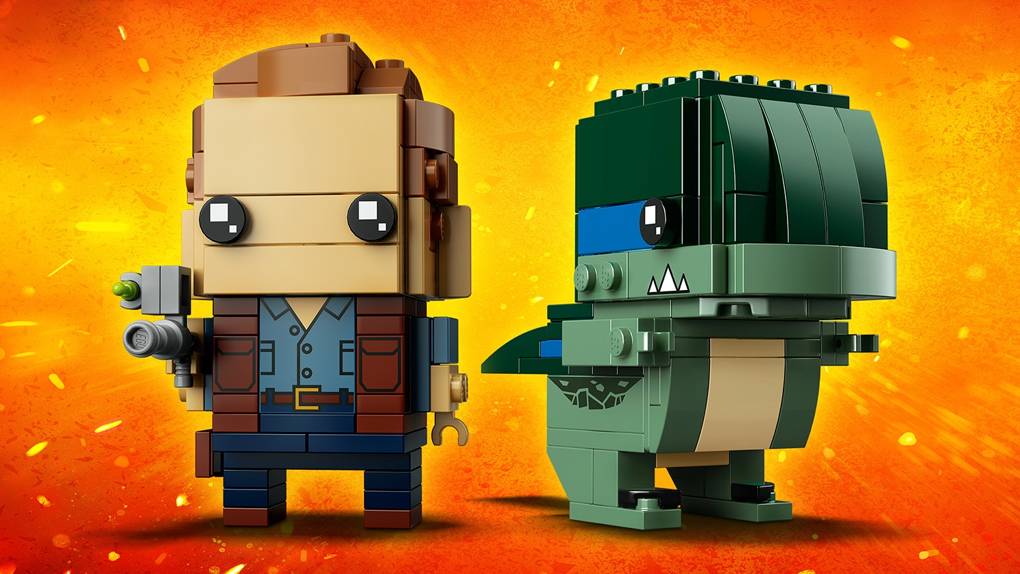 LEGO Brickheadz - 41614 Owen and Blue - Build LEGO Brickheadz figures of Owen from Jurassic World and his green dinosaur Blue.