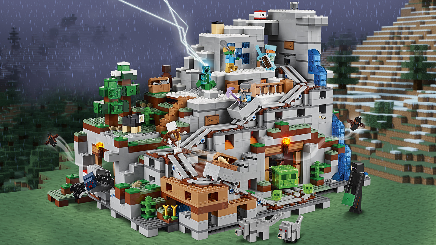 LEGO Minecraft - 21137 Mountain Cave Set - Explore the biggest LEGO Minecraft set so far! With railroads and hidden caves this set opens up for hours of building and play.