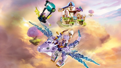 LEGO Elves - 41193 Aira & the Song of the Wind Dragon - Aira and Lumia are flying on Cyclo the Guardian Wind Dragon that is under attack by a evil shadow bat that tries to steal the magic Wind diamond.