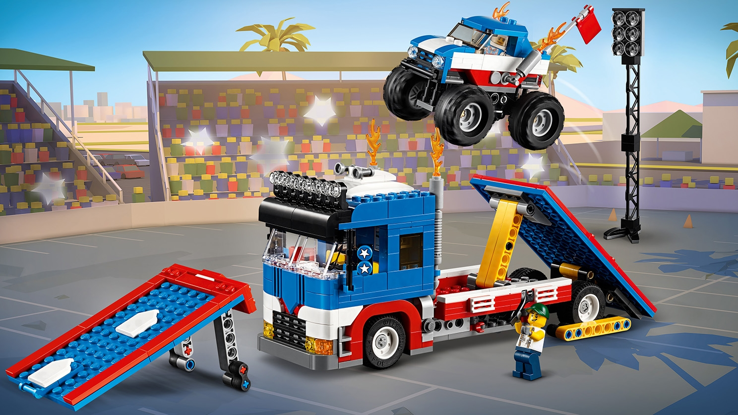 LEGO Creator 3 in 1 - 31085 Mobile Stunt Show - Convert the trailers of the truck into ramps and make a stunt show with a small blue monster truck.