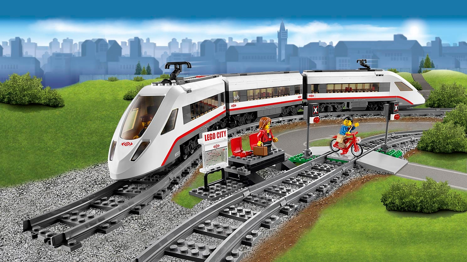 LEGO City train on tracks - High-Speed Passenger Train 60051