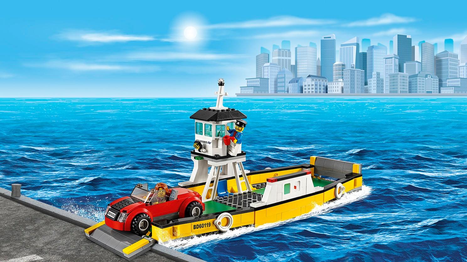 LEGO City Les super véhicules Embarquement d'une voiture à bord du ferry – Le ferry 60119