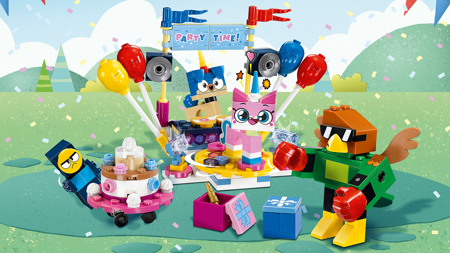 LEGO Unikitty - 41453 Party Time - It's party time in Unikingdom! Hit the dance floor with Unikitty and the gang while Prince Puppycorn handles the music from the DJ booth.