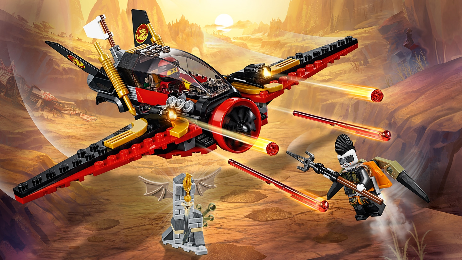 LEGO Ninjago - 70650 Destiny's Wing - Fire with red laser studs from this ninja plane in Kai's battle against an evil opponent.