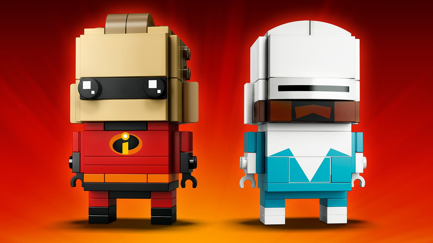 LEGO Brickheadz - 41613 Mr. Incredible and Frozone - Build two LEGO Brickheadz figures of Mr. Incredible in his red suit and Frozone in a white and icy blue suit.