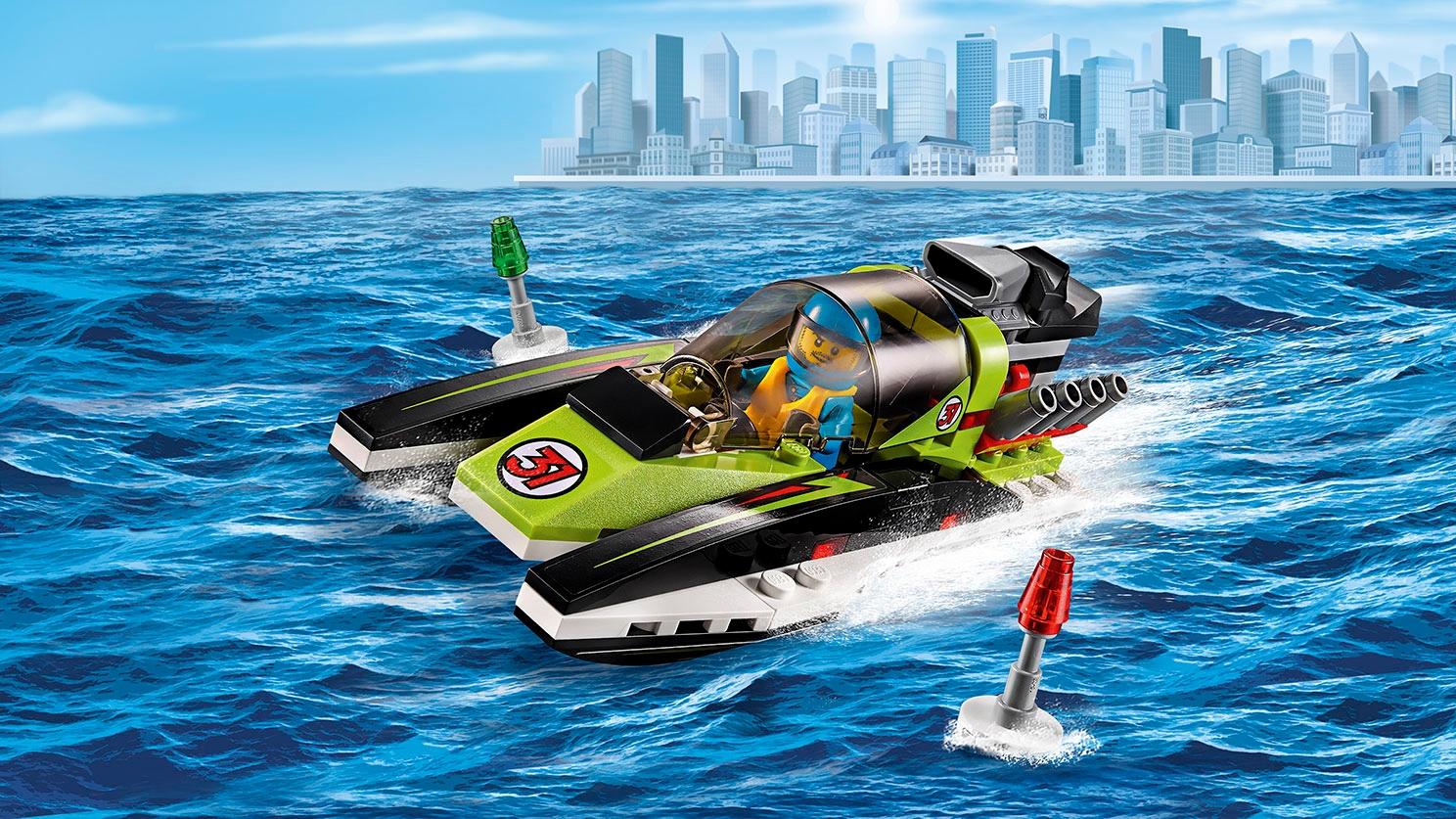 LEGO City Geweldige Voertuigen groene raceboot – Raceboot 60114
