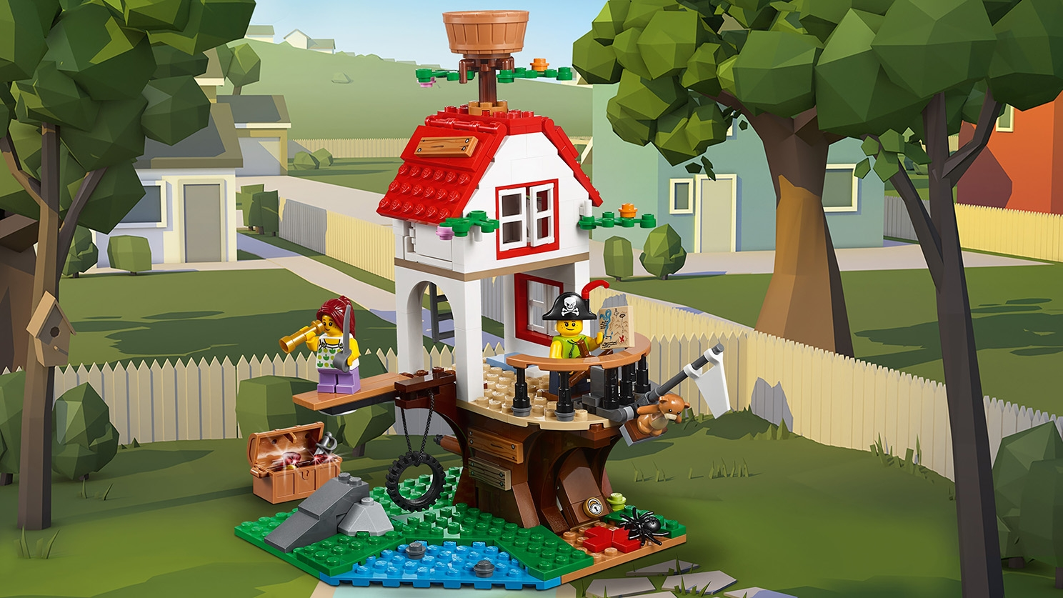 LEGO Creator 3 in 1 - 31078 Tree house Adventures - Build a fun pirate themed tree house with a treasure map, treasure chest, a crow's nest and place to walk the plank.