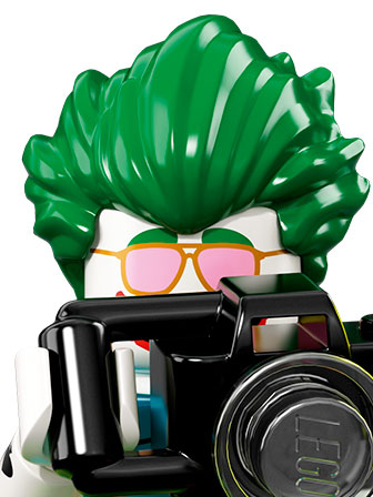 A portrait of The Joker with pink sunglasses, green hair and a camera