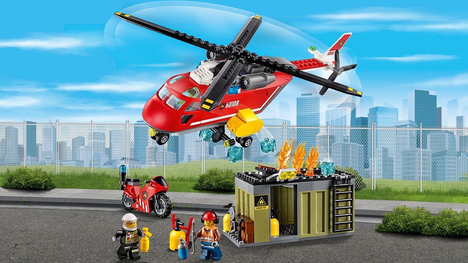 レゴ シティ コンテナの火事とヘリコプター – 消防ヘリコプター 60108