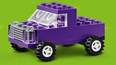 LEGO Classic Bricks Bricks Bricks - 10717 - Build a purple 4x4  pick-up truck with a grey bumper and a large trunk.